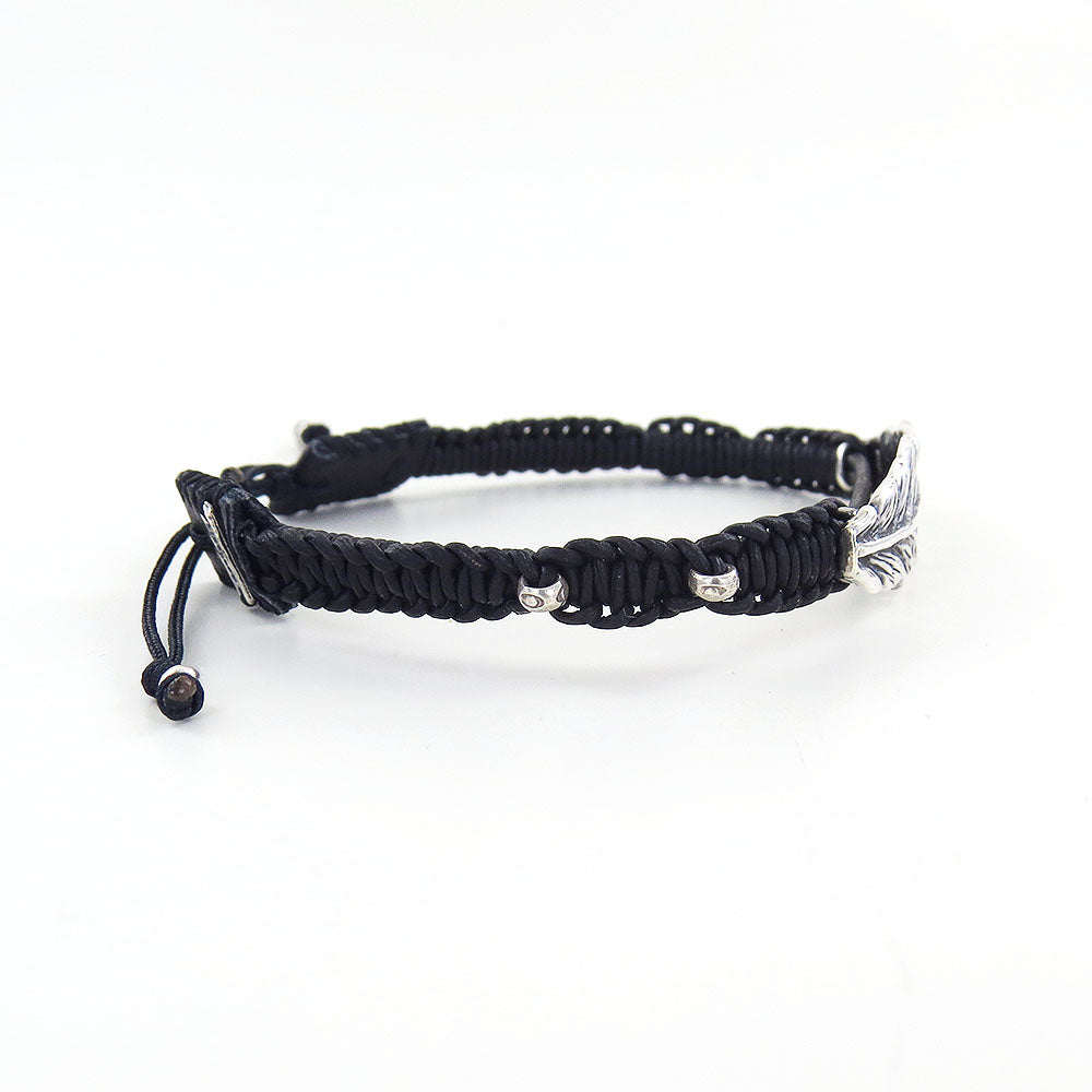 NATURAL BLACK LEATHER FEATHER PULL TIE BRACELET