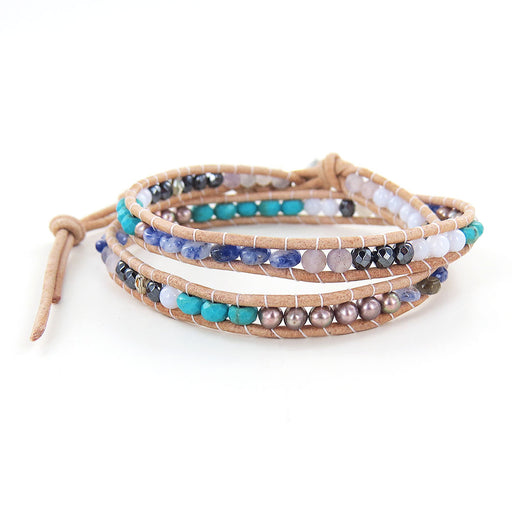 SODALITE MIX DOUBLE WRAP BRACELET