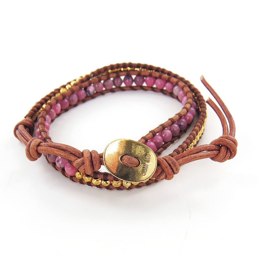 RHODONITE MIX DOUBLE WRAP BRACELET