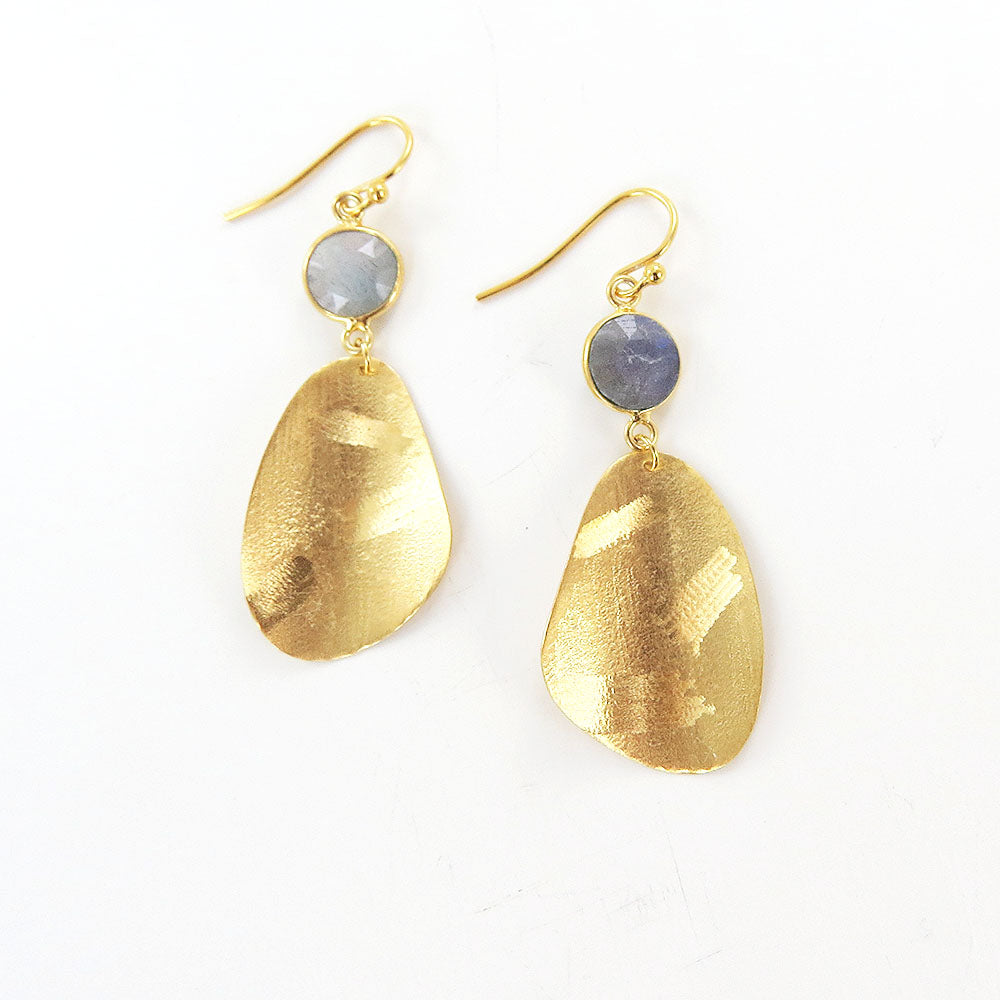 GOLD LABRADORITE TIERED COIN EARRINGS