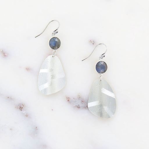 SILVER & LABRADORITE TIERED COIN EARRINGS