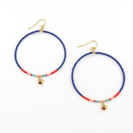 BLUE MIX SEED BEAD HOOP EARRINGS