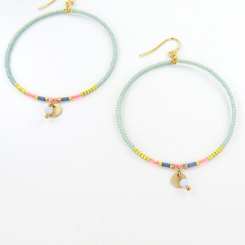 GREEN MIX SEED BEAD HOOP EARRINGS