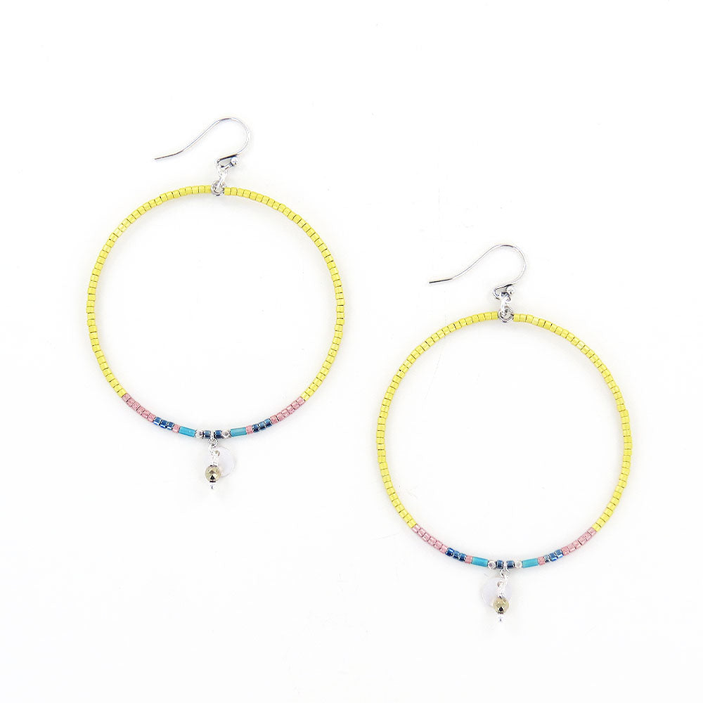 YELLOW MIX SEED BEAD HOOP EARRINGS