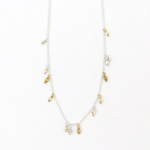 DANGLING SILVER MIX SHORT NECKLACE
