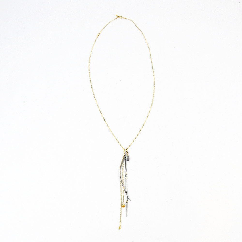 GREY MIX & LEATHER TASSEL LONG NECKLACE