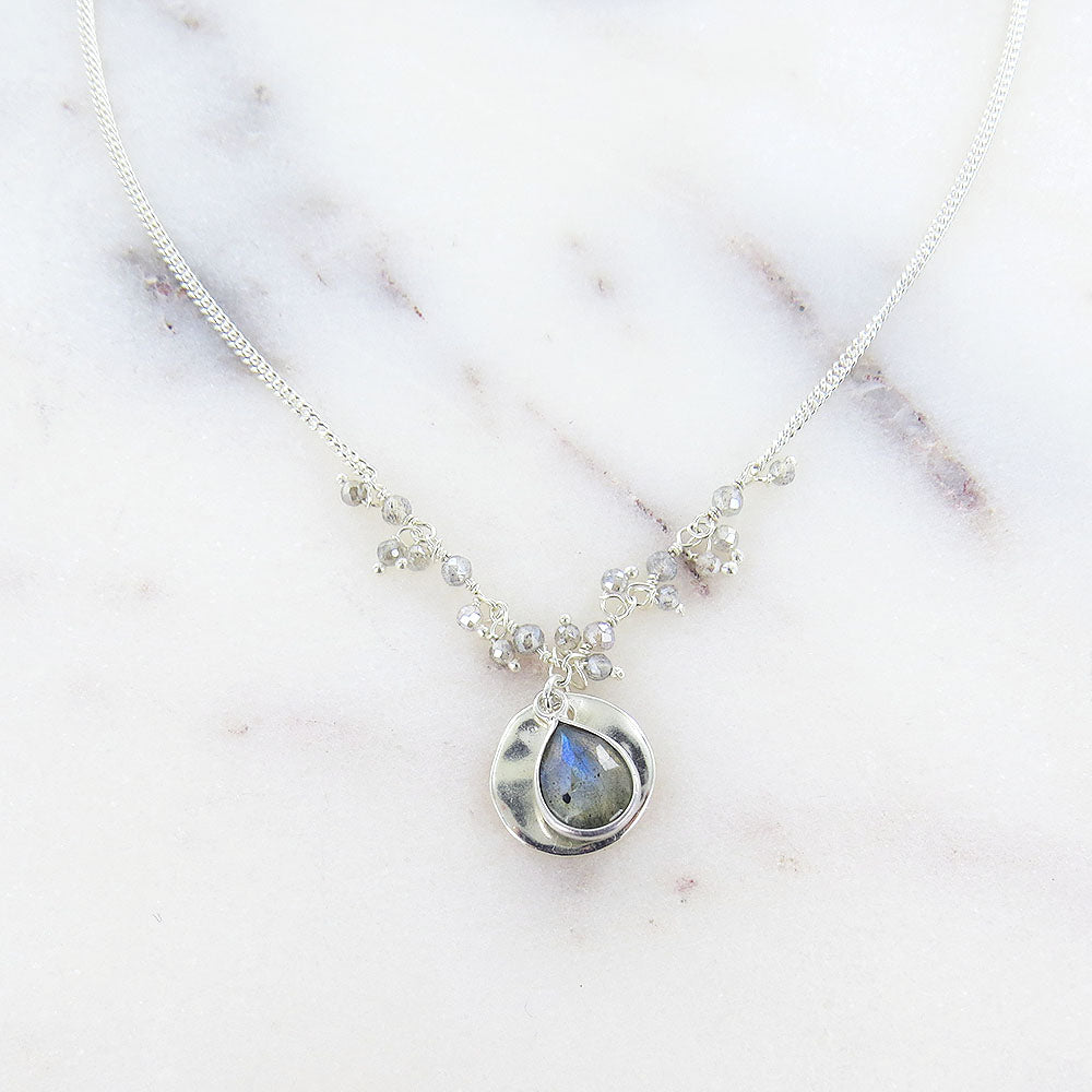 MYSTIC LABRADORITE & LABRADORITE DROP SHORT NECKLACE