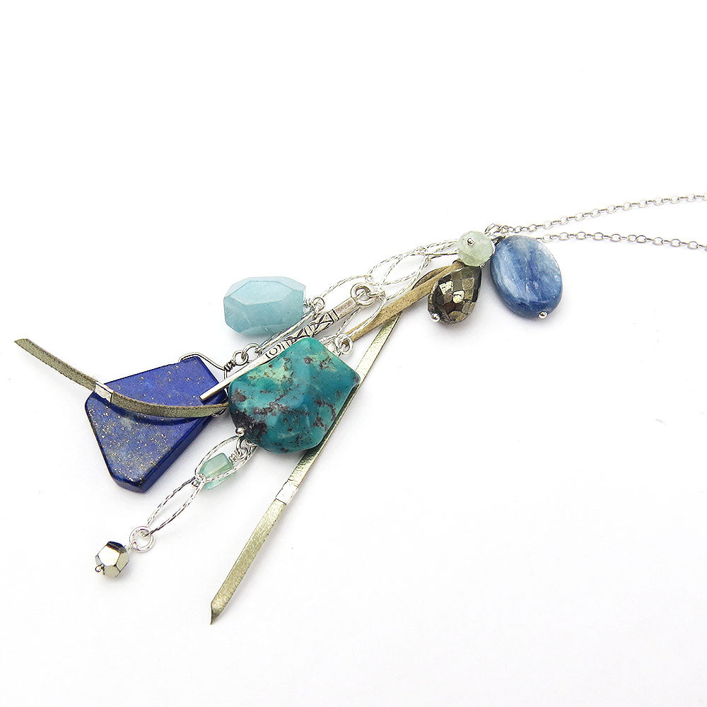 TURQUOISE MIX CHARM LAYERING NECKLACE