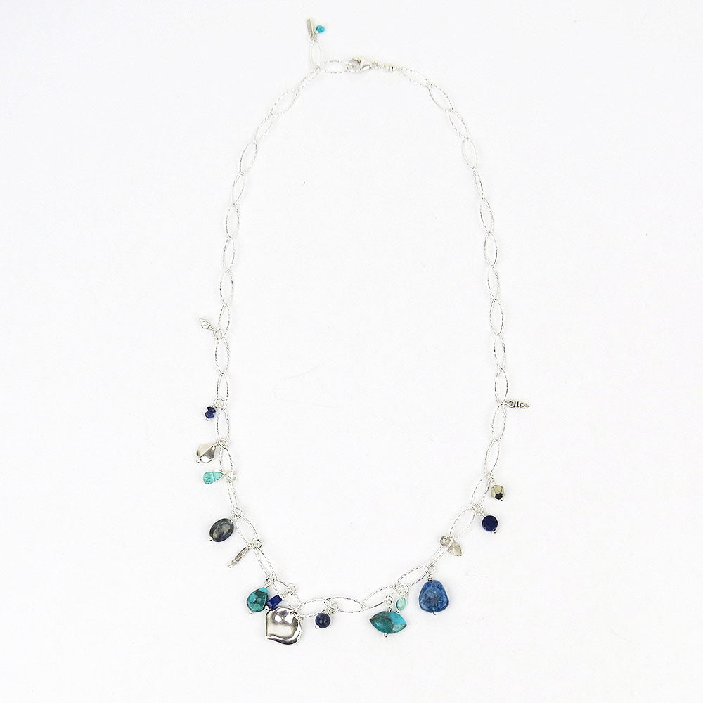 TURQUOISE MIX CHARM SHORT NECKLACE