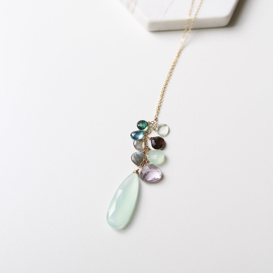 Large Chalcedony Cluster Drop Necklace