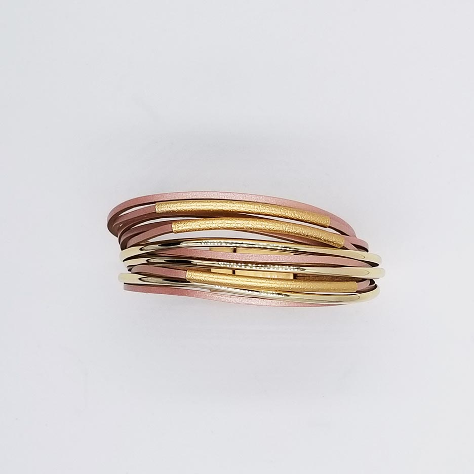 BRUSHED GOLD WITH PINK LEATHER BRACELET