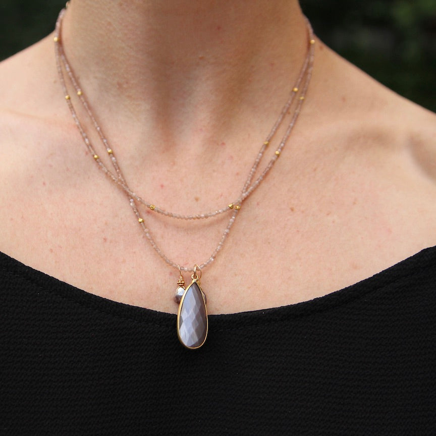 Chocolate Moonstone Double Strand Necklace