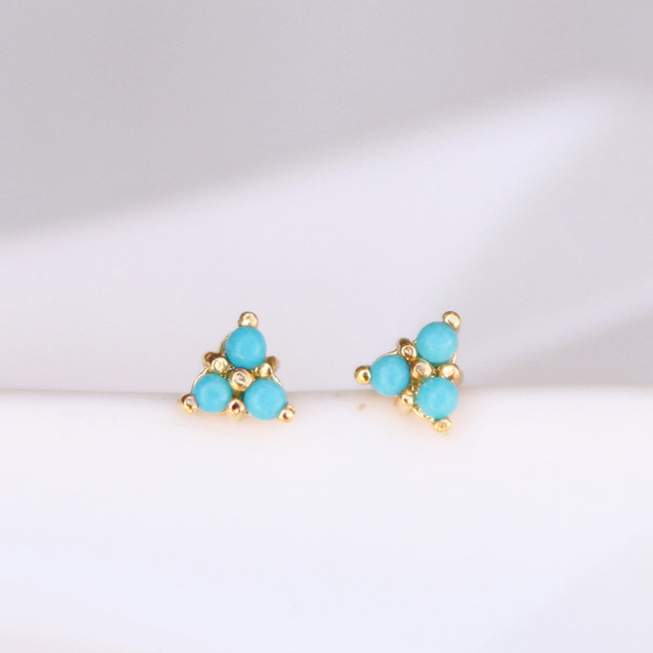 TURQUOISE TINY TRIPLE STONE TRIANGLE STUD EARRING