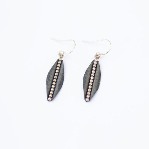 Small Gold And Oxidized Sterling Silver Earring
