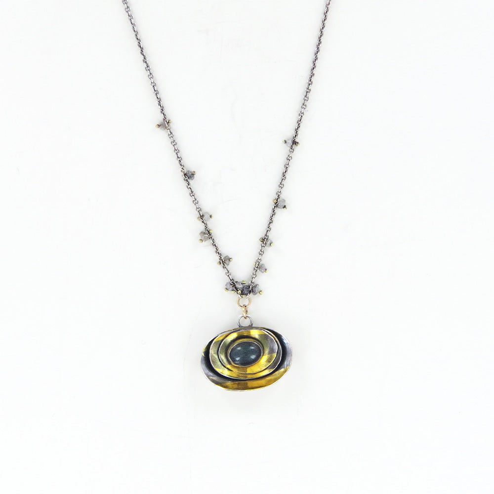 LABRADORITE AND SCATTERED RAW DIAMONDS NECKLACE