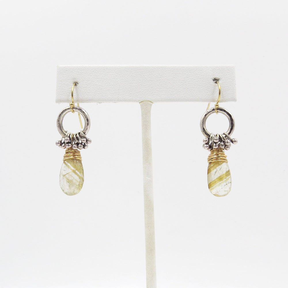 RUTILATED QUARTZ HOOP AND PEG EARRING