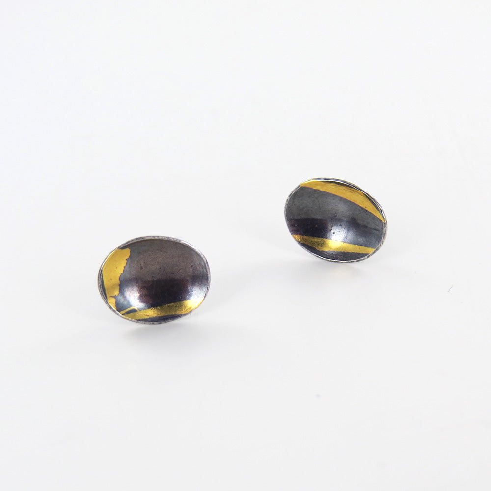 GOLD AND SILVER SMALL OVAL POST EARRING