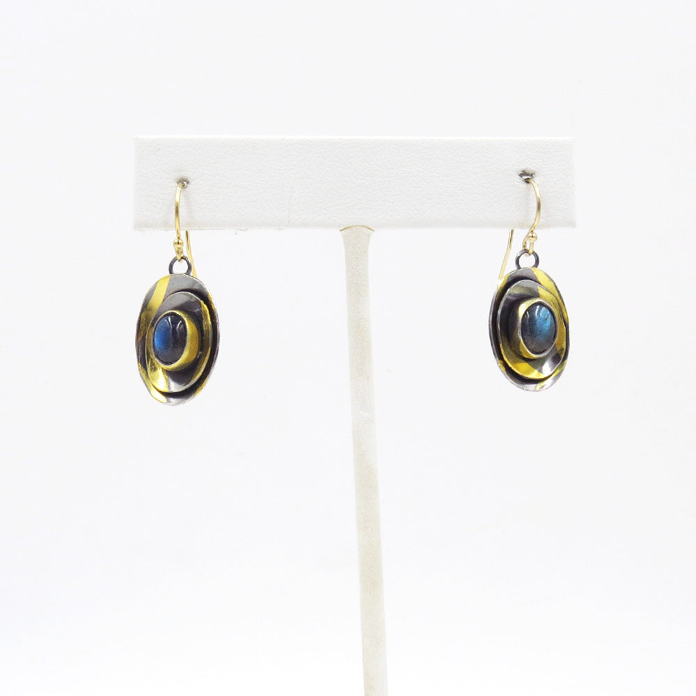 LABRADORITE TRIPLE CUSP OVAL EARRING