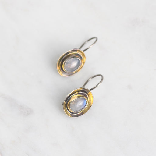 Triple Cusp Moonstone Earring in Oxidized Silver & 24k Gold
