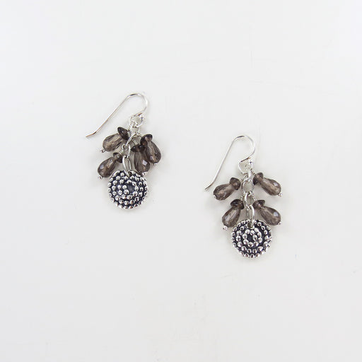 BEADED SPIRAL WITH SMOKY QUARTZ EARRINGS