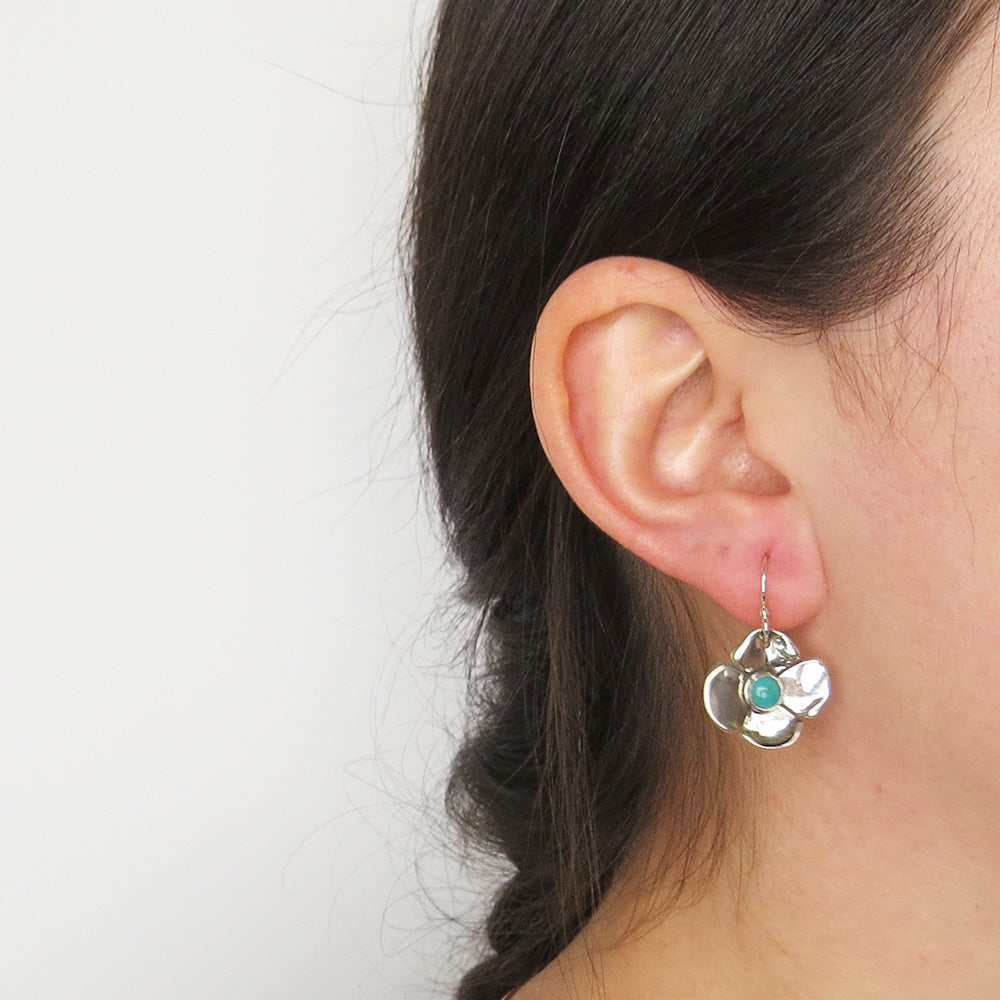 SILVER AND TURQUOISE DOGWOOD DANGLE EARRINGS