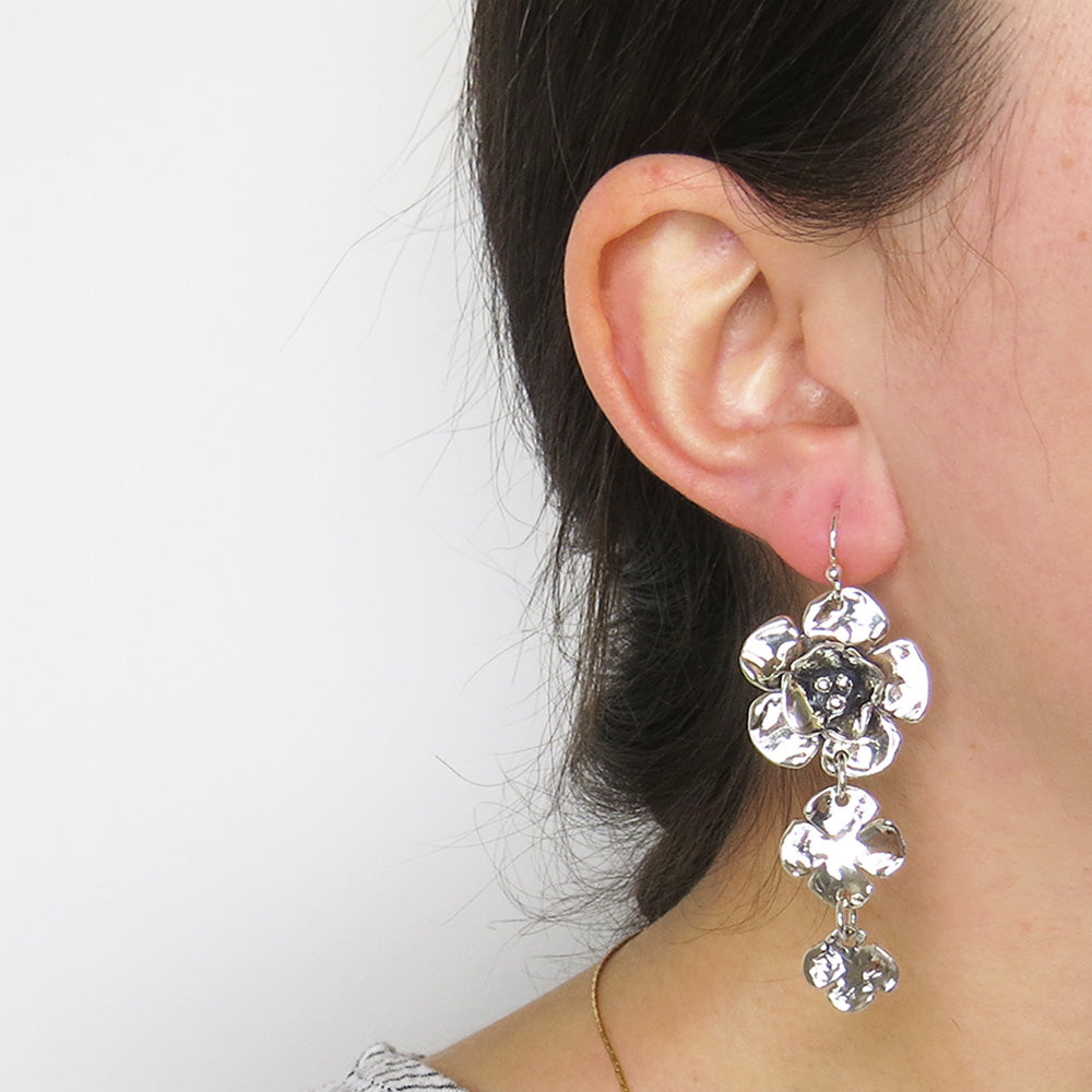 TRIPLE DOGWOOD FLOWER DROP EARRING
