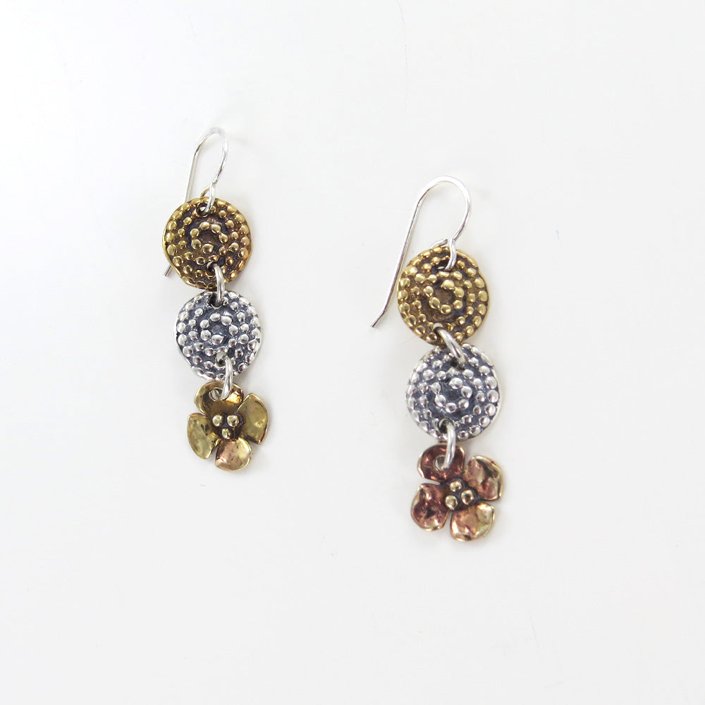 BEADED SPIRAL AND DOGWOOD EARRINGS