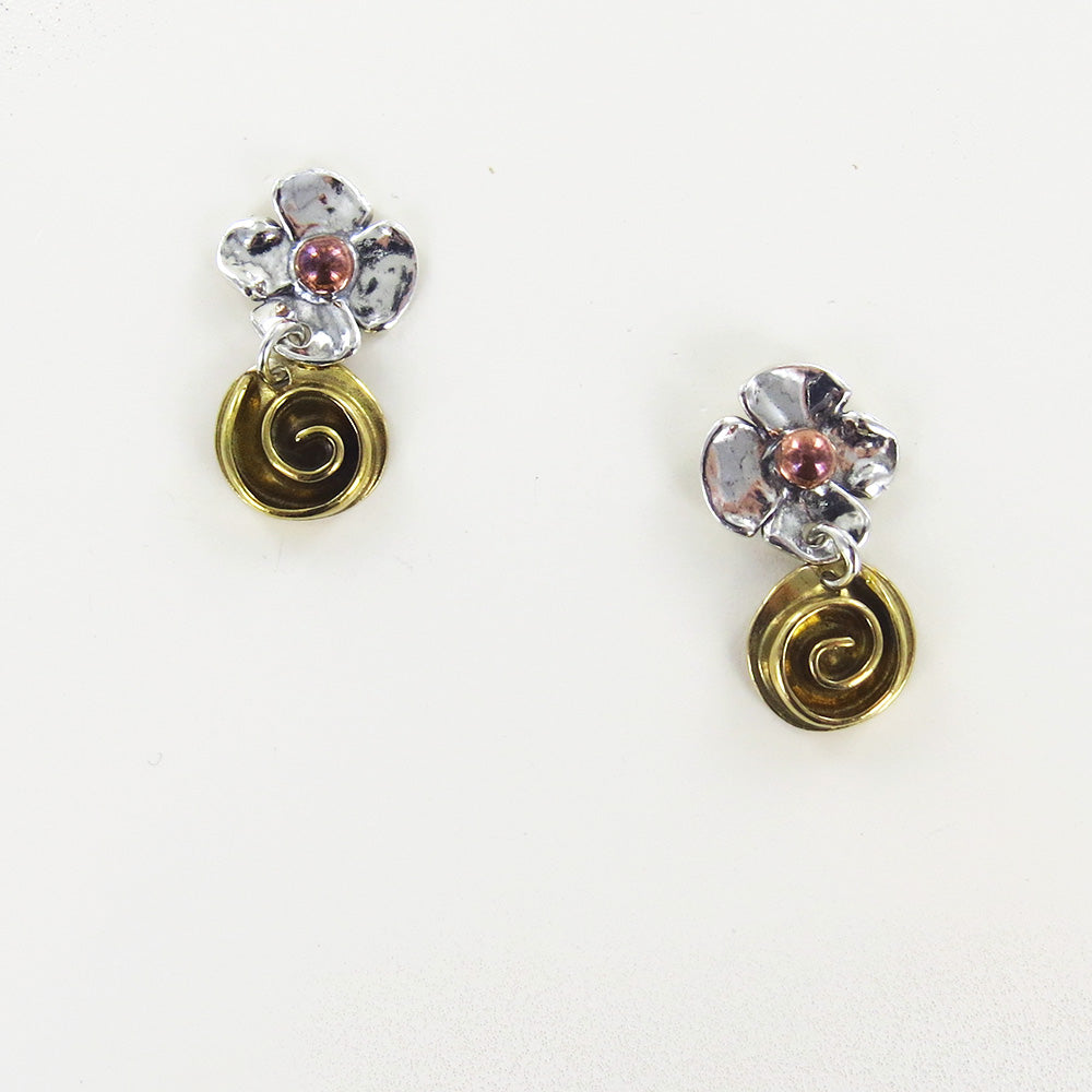 MIXED METAL ROSE AND SWIRL DANGLE EARRINGS