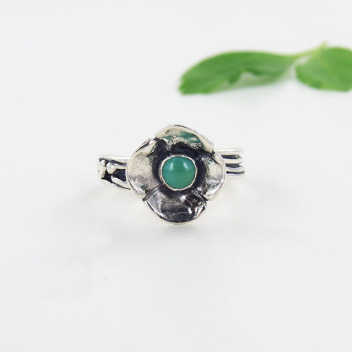 SILVER AND TURQUOISE FLOWER RING