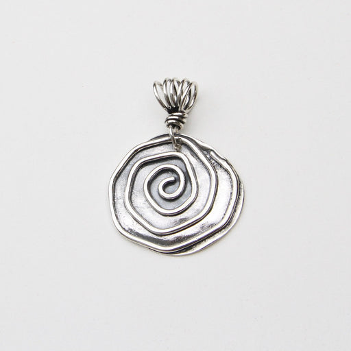 Sterling Silver Spiral Pendant on Vine Bail