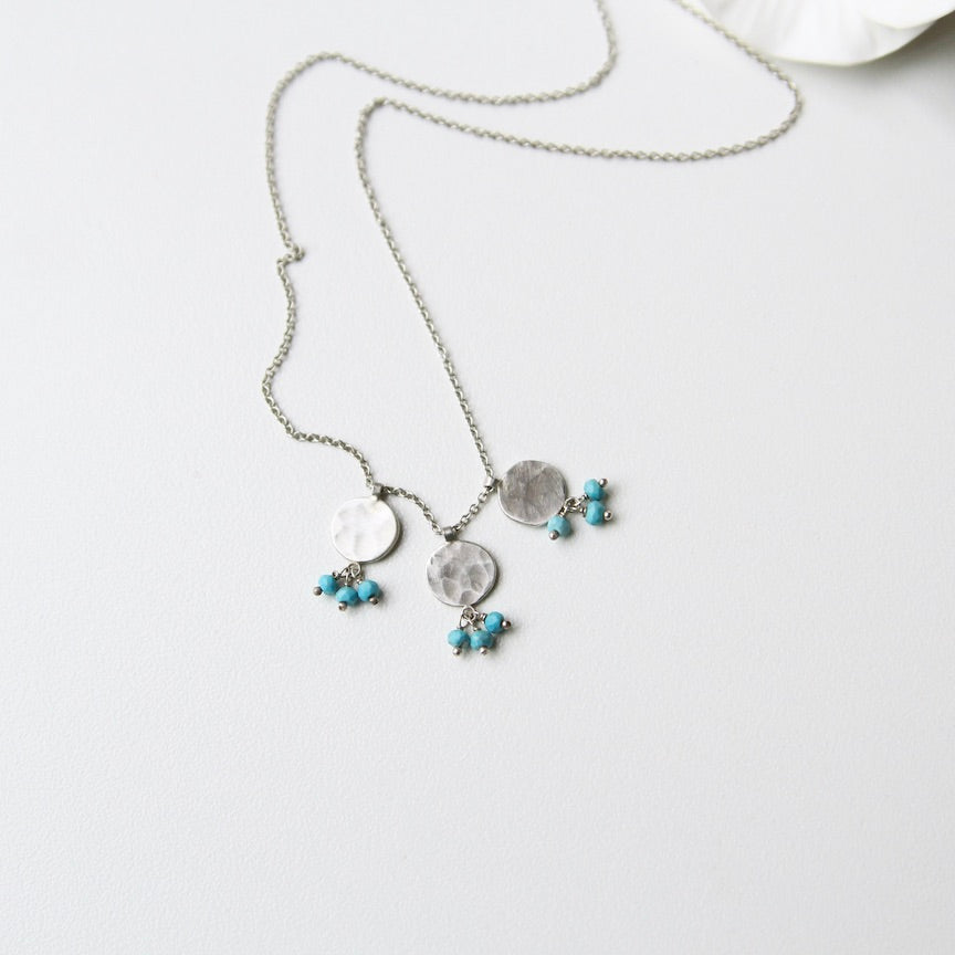 Three Circle Charms & Turquoise Necklace