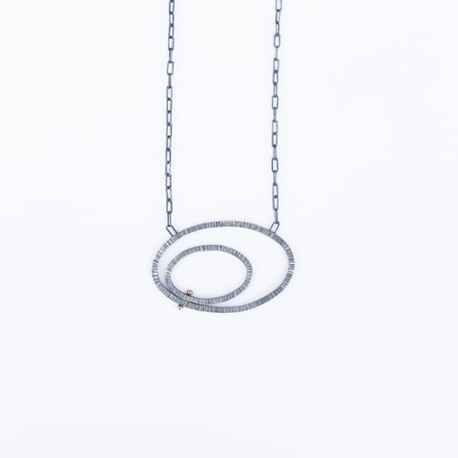 Lined Double Ovals With 14K Gold Pegs Necklace