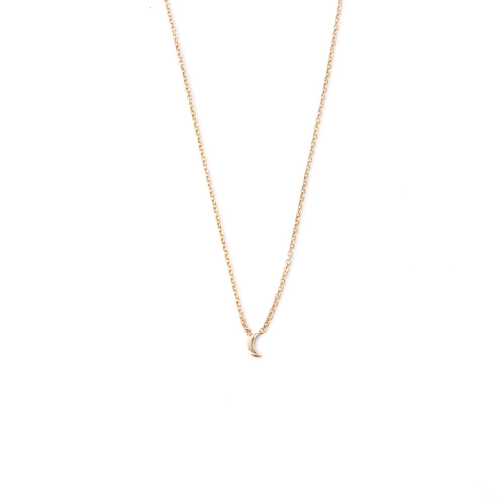 14k Gold Itty Bitty Crescent Moon Necklace