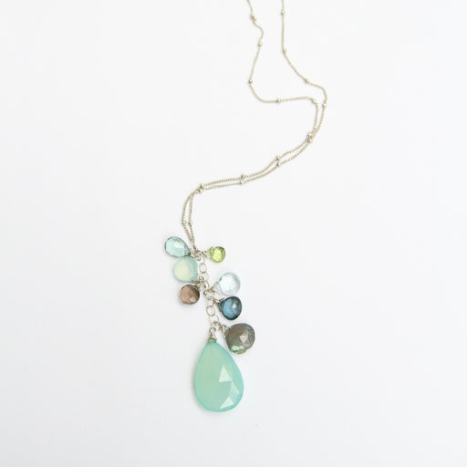 Bead Chain With Chalcedony Cluster Necklace