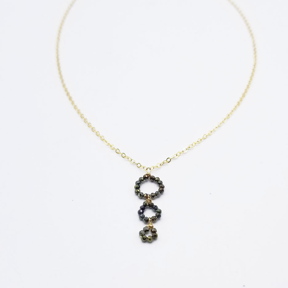 Three Pyrite Circles Drop Necklace