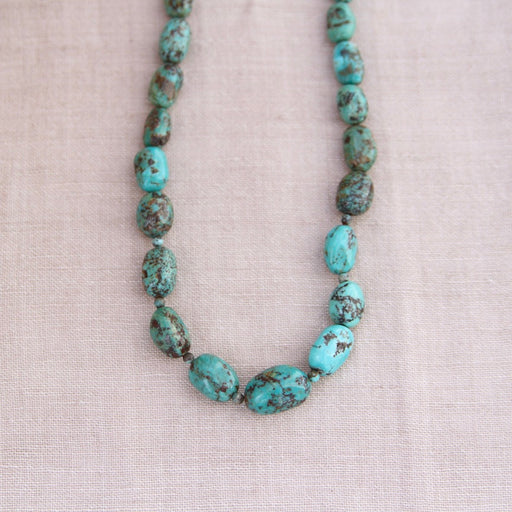 GRADUATED OVAL TURQUOISE BEAD NECKLACE