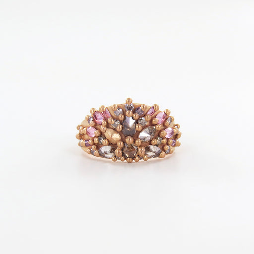 VENUS HALF SHEILD RING- ROSE GOLD WITH STELLAR COL