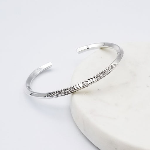 KNIFE EDGE STERLING SILVER CUFF WITH STAMPING