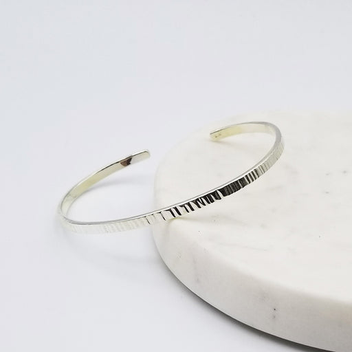HAMMERED LINES STERLING SILVER CUFF