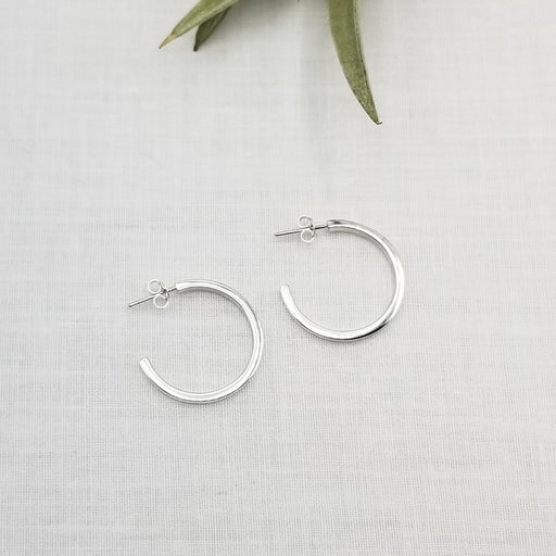 25mm STERLING SILVER SQUARE TUBE HOOPS