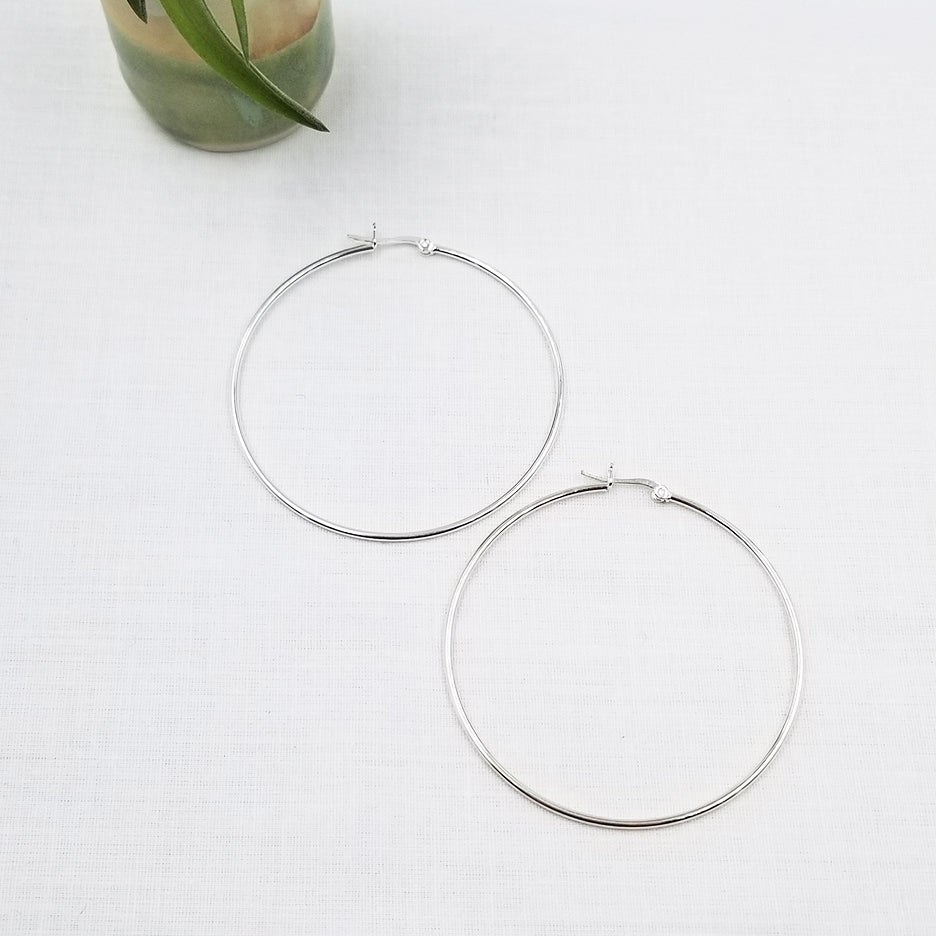 60 MM STERLING SILVER LATCH HOOP