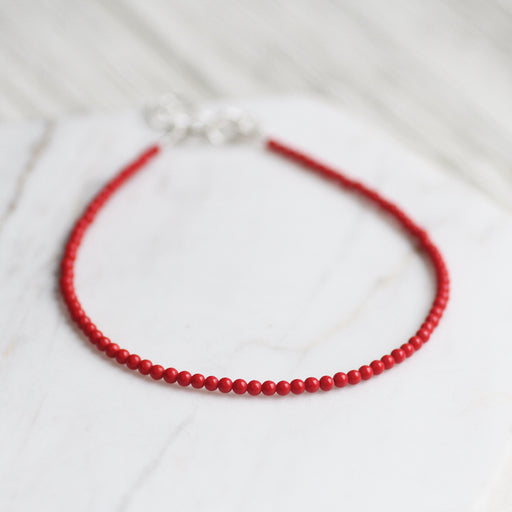 Red Coral Simple Stone Bracelet