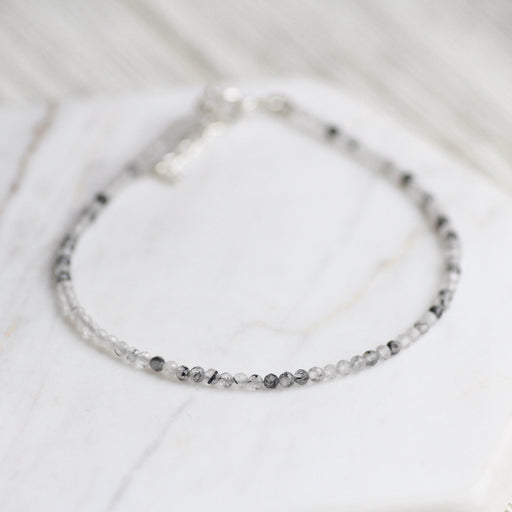 Black and White Tourmalated Quartz Simple Stone Bracelet