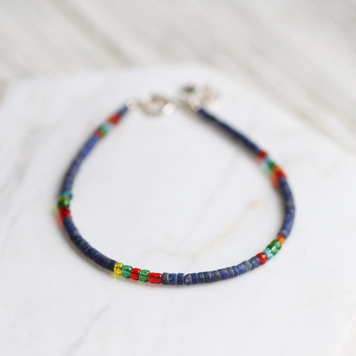 Lapis and Mixed Glass Beads Simple Stone Bracelet