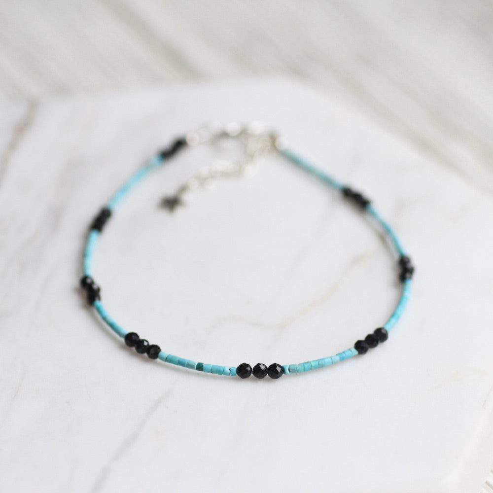 Turquoise and Black Simple Stone Bracelet