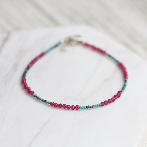 Green Turquoise and Pink Garnet Simple Stone Bracelet
