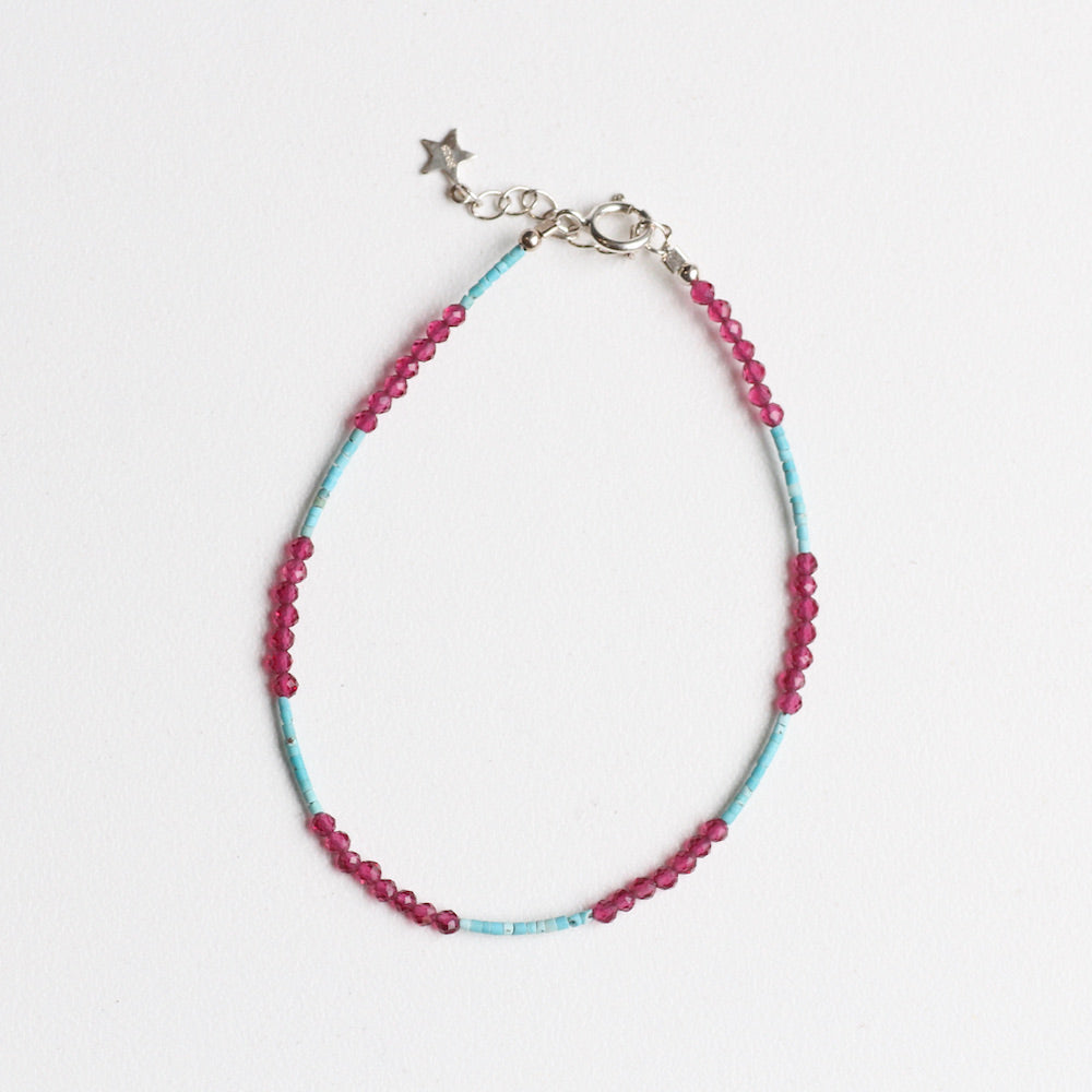 Blue Turquoise and Pink Garnet Simple Stone Bracelet