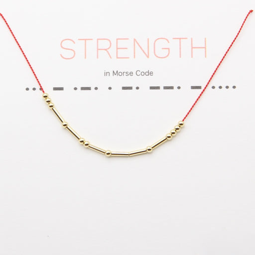 Strength Morse Code Bracelet in Gold