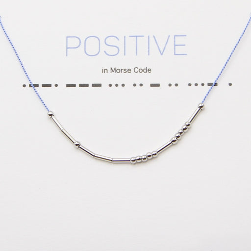 Positive Morse Code Necklace in Silver
