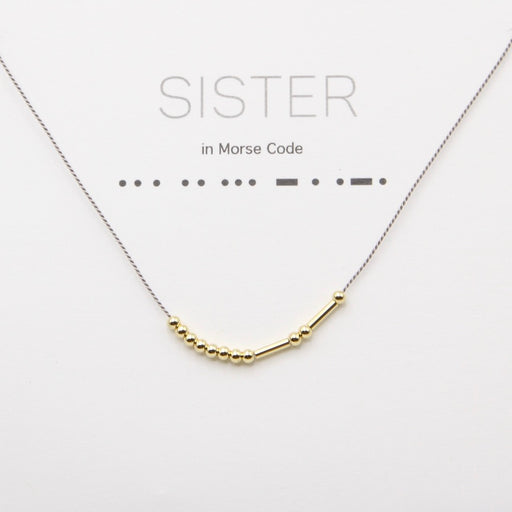 Sister Morse Code Necklace in Gold